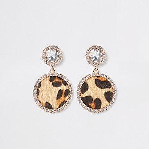 Gold leopard print diamante drop earrings