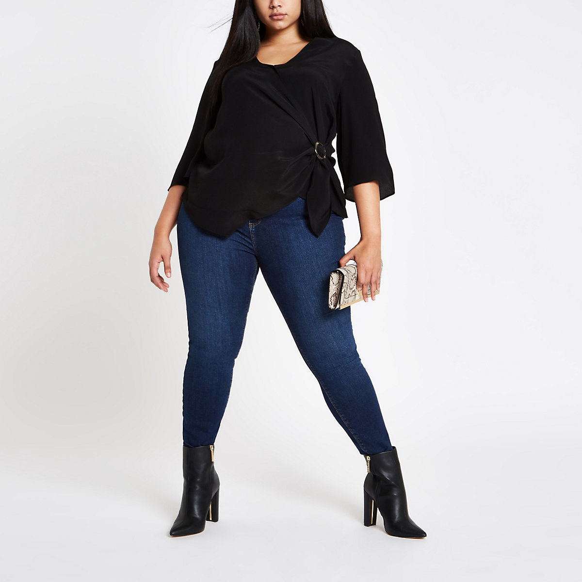Plus black wrap front ring tie blouse
