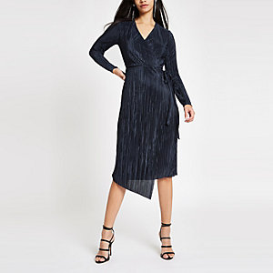 Navy plisse wrap front midi dress