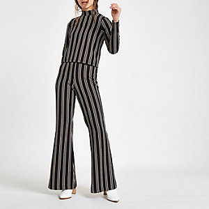 Petite black stripe wide leg pants
