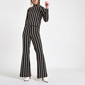 Petite – Pantalon large rayé noir