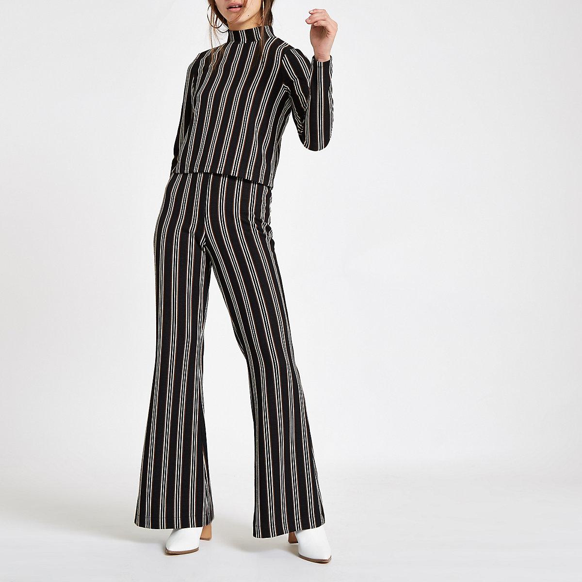 Petite black stripe wide leg pants