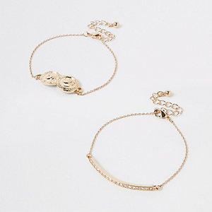 Gold tone layered coin bracelet pack