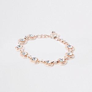 Rose gold tone diamante circle bracelet