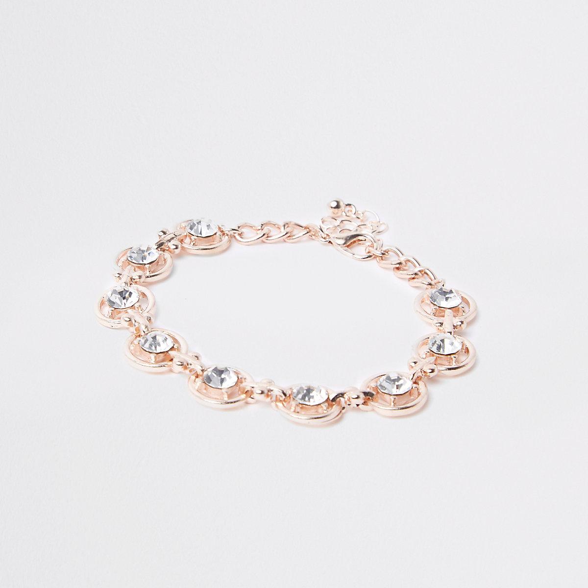Rose gold tone rhinestone circle bracelet
