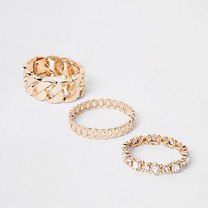 Lot de bracelet dorés avec pierres fantaisie