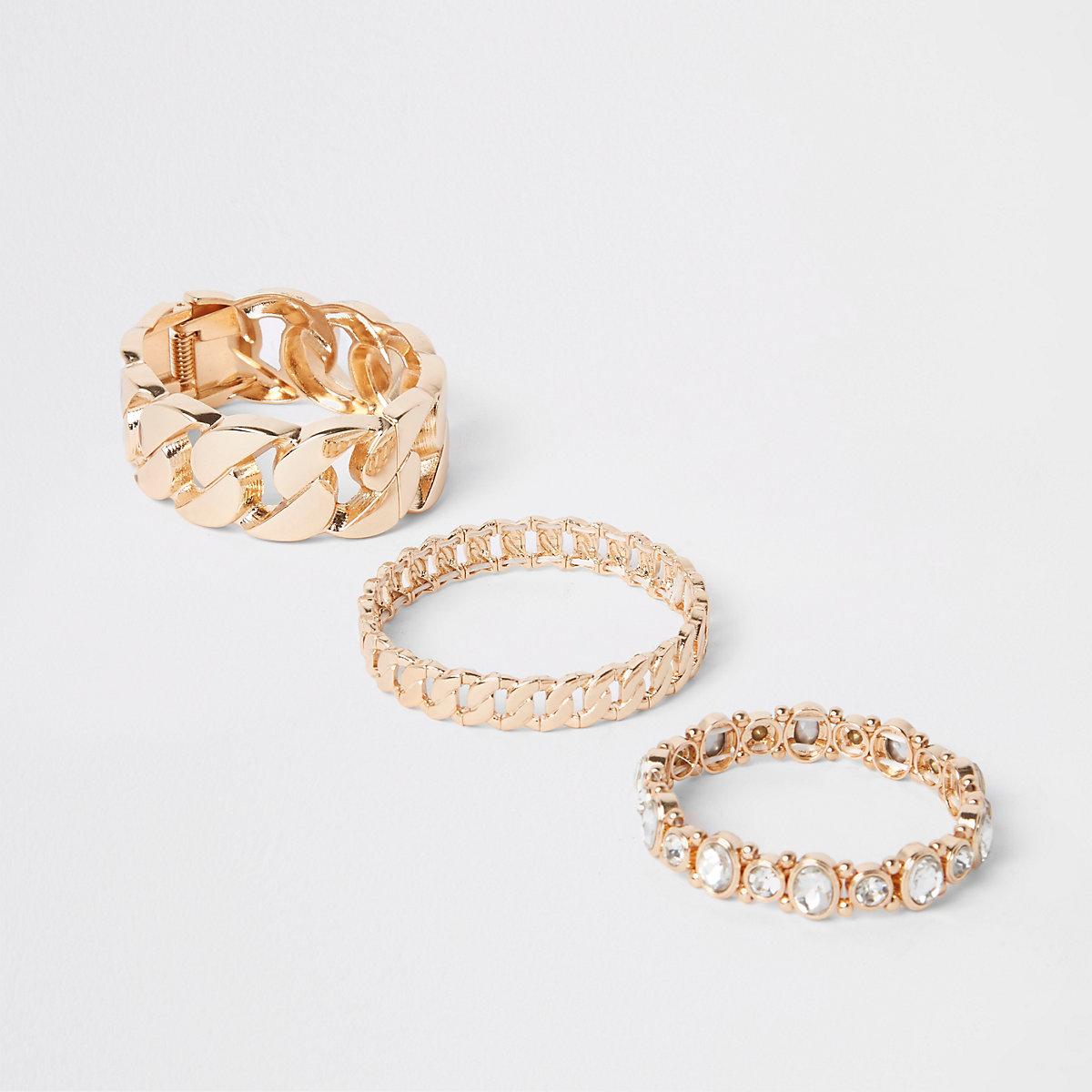 Gold tone gem stone bracelet multipack