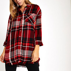 Red oversized check print tie front shirt