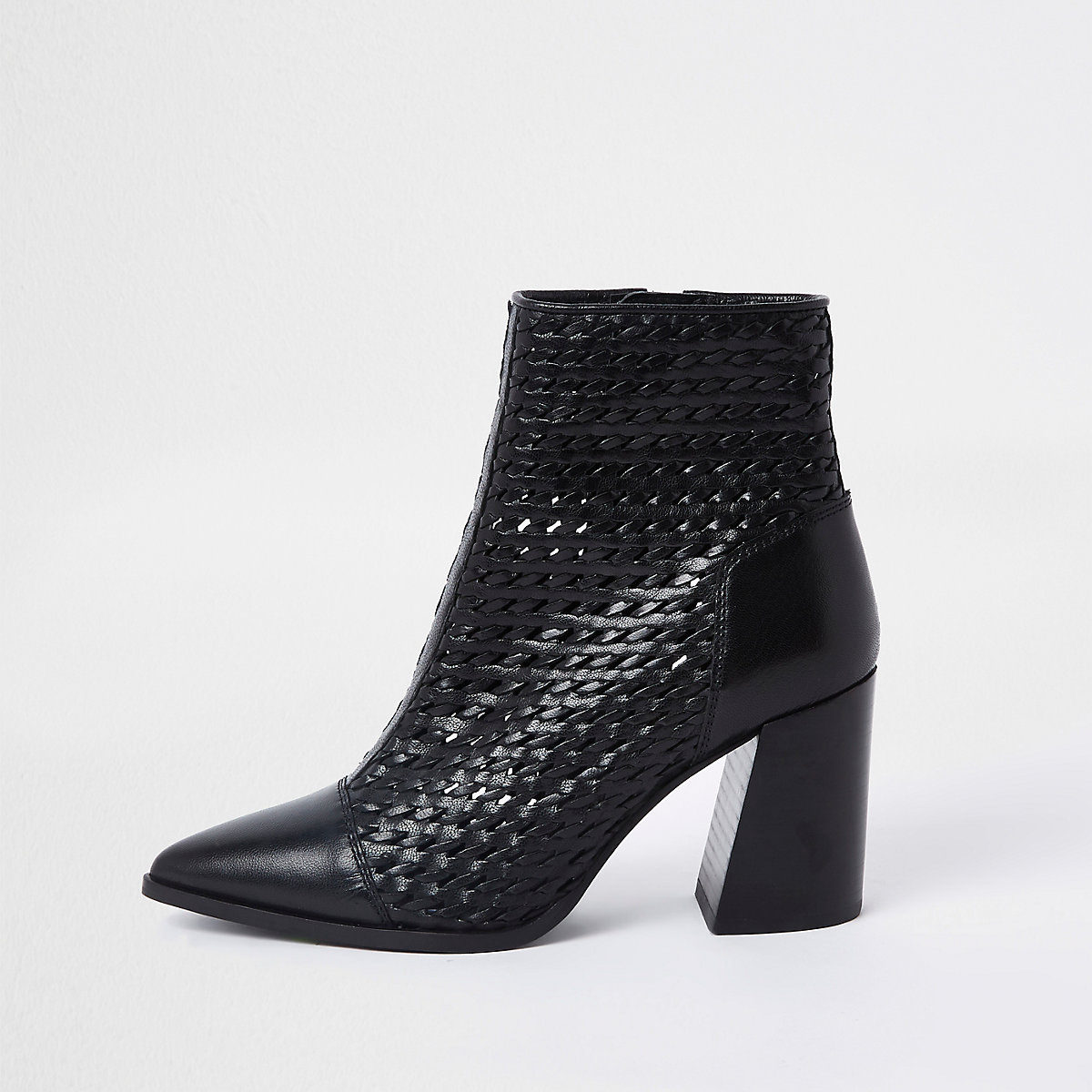 Black leather woven pointed toe boot
