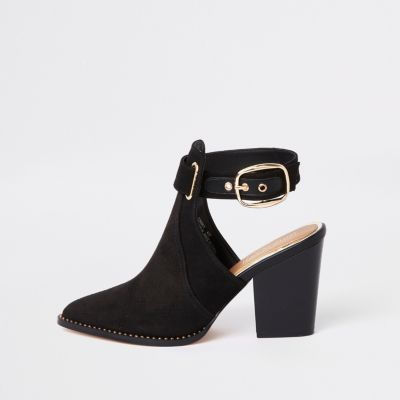 Black Western Cut Out Shoe Boot by River Island