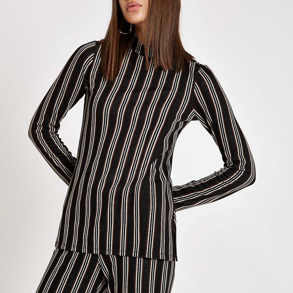 Black stripe high neck top