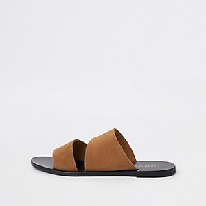 Brown suede mule flat sandals