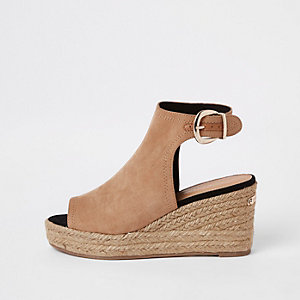Light brown espadrille platform wedges
