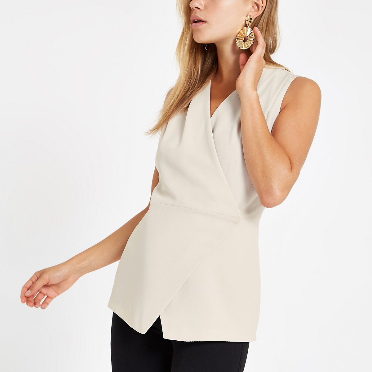 Stone wrap front sleeveless tux top