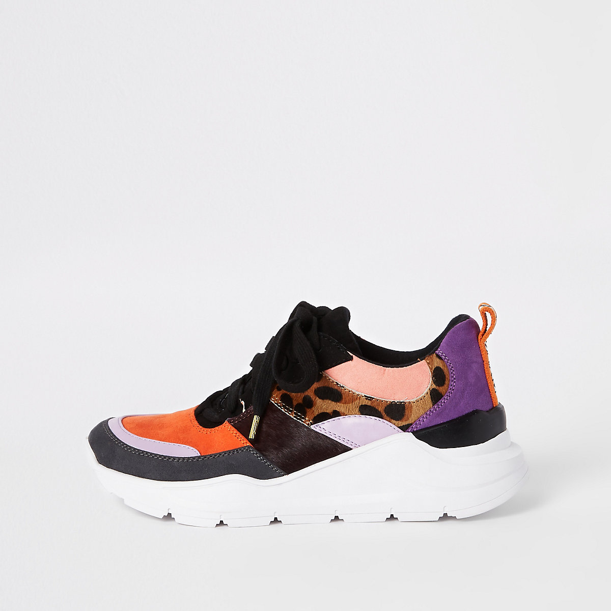 Pink color block chunky lace-up sneakers