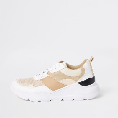 Cream Colour Block Chunky Lace Up Trainers by River Island