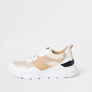 Cream colour block chunky lace-up trainers