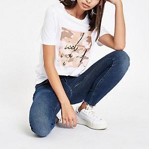White 'feel good' foil camo print T-shirt