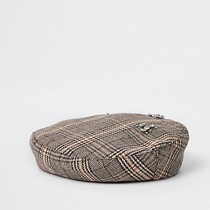 Brown check diamante embellished beret