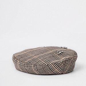 Brown check rhinestone embellished beret
