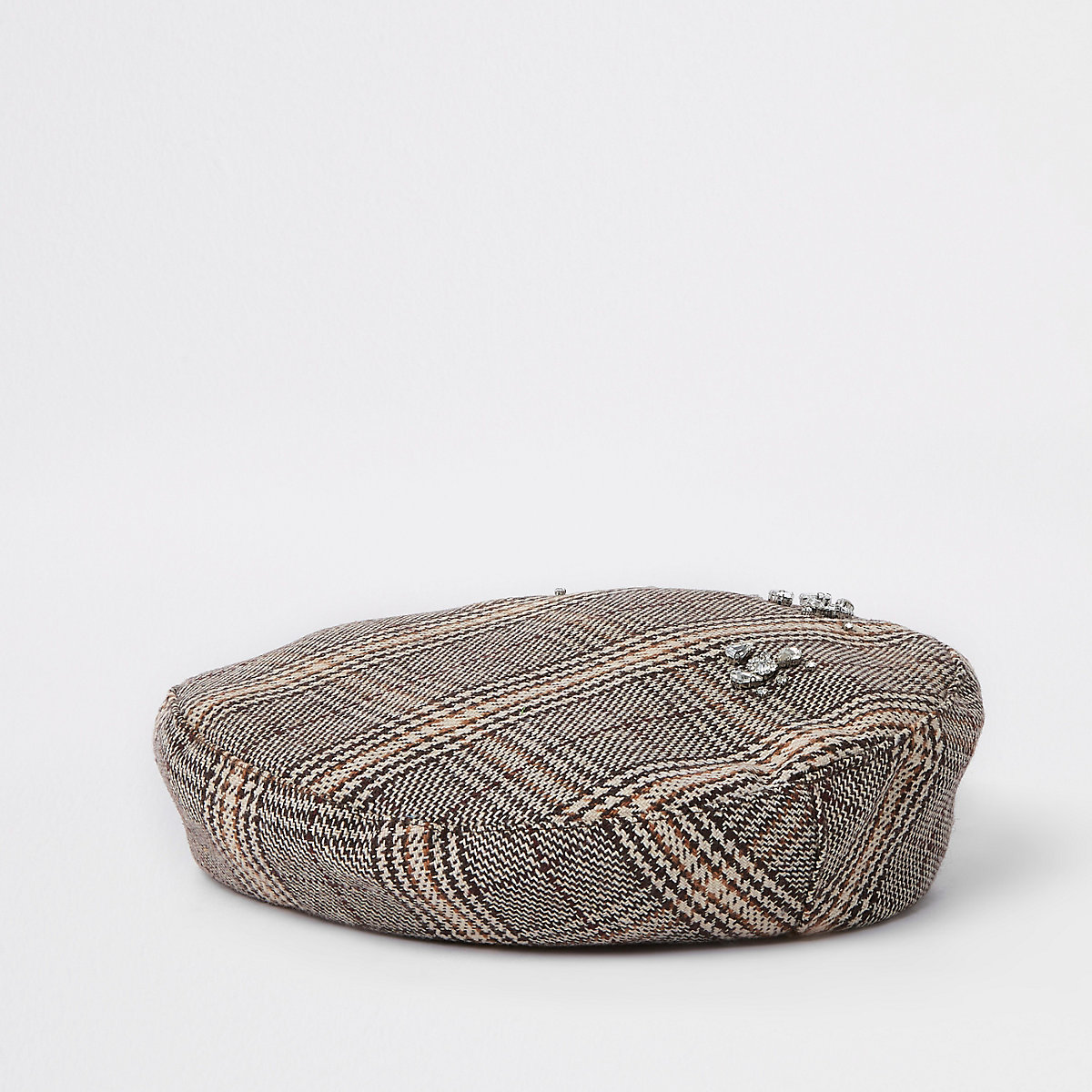 Brown check rhinestone embellished beret