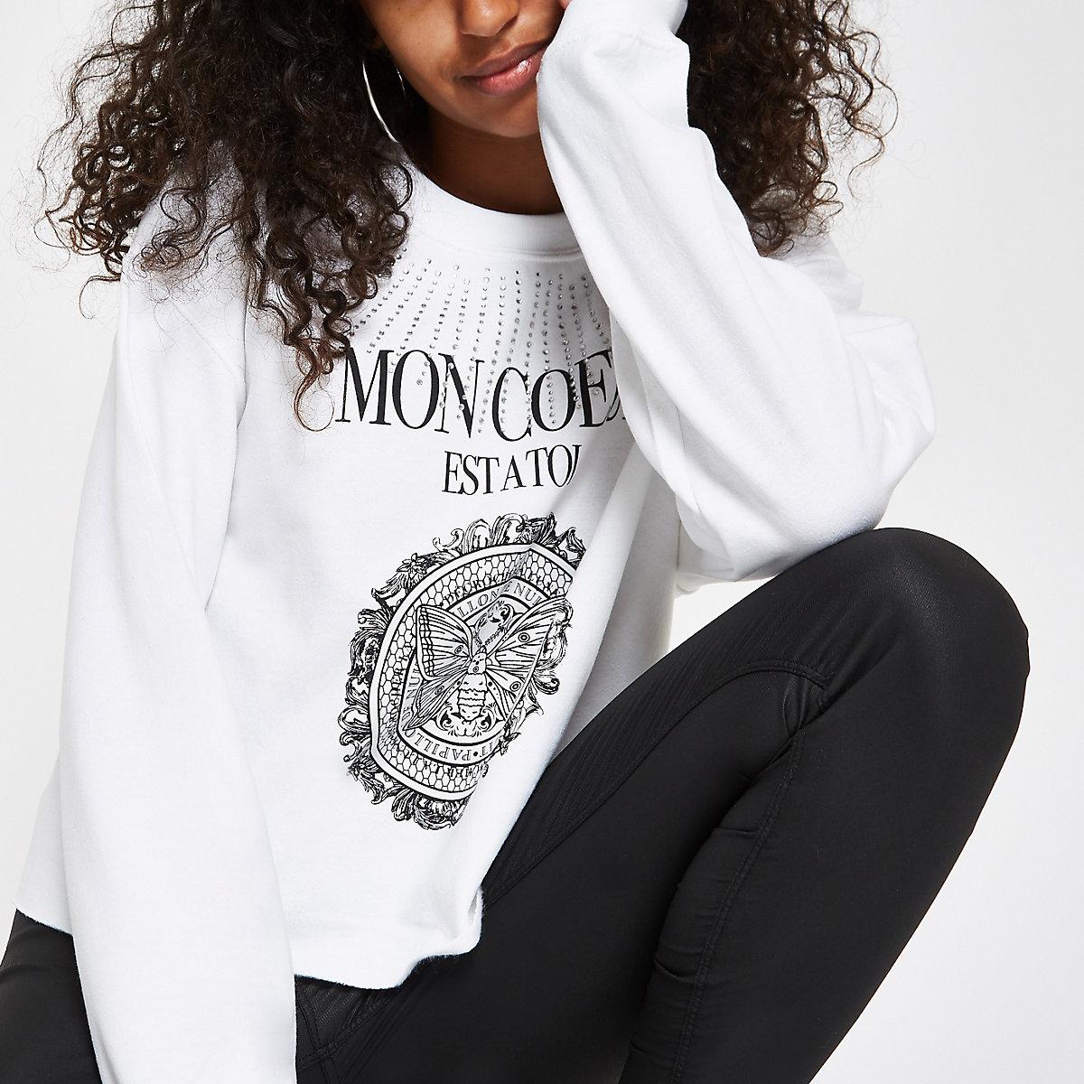 White rhinestone 'Mon Coeur' print sweatshirt