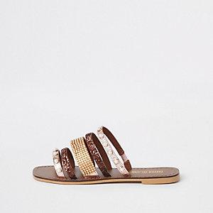 Brown leather multi strap embellished sandal