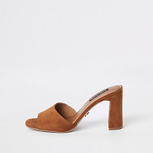 Brown suede  heel mule sandals