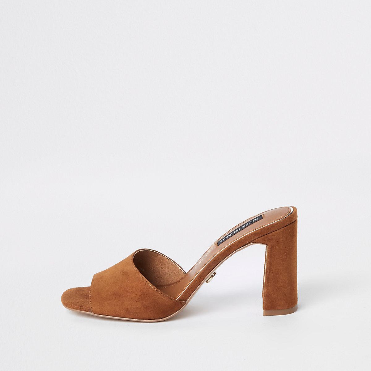 Brown suede  heel mule sandals