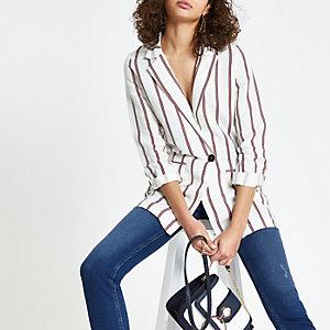 Red stripe linen blazer
