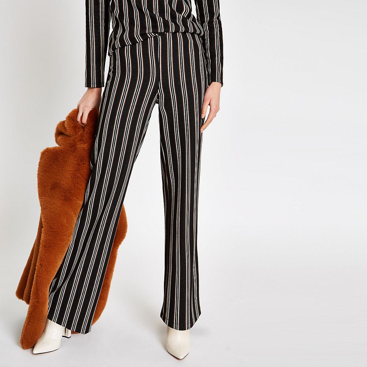 Black stripe wide leg pants