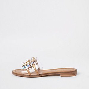 Beige jewel embellished flat sandals