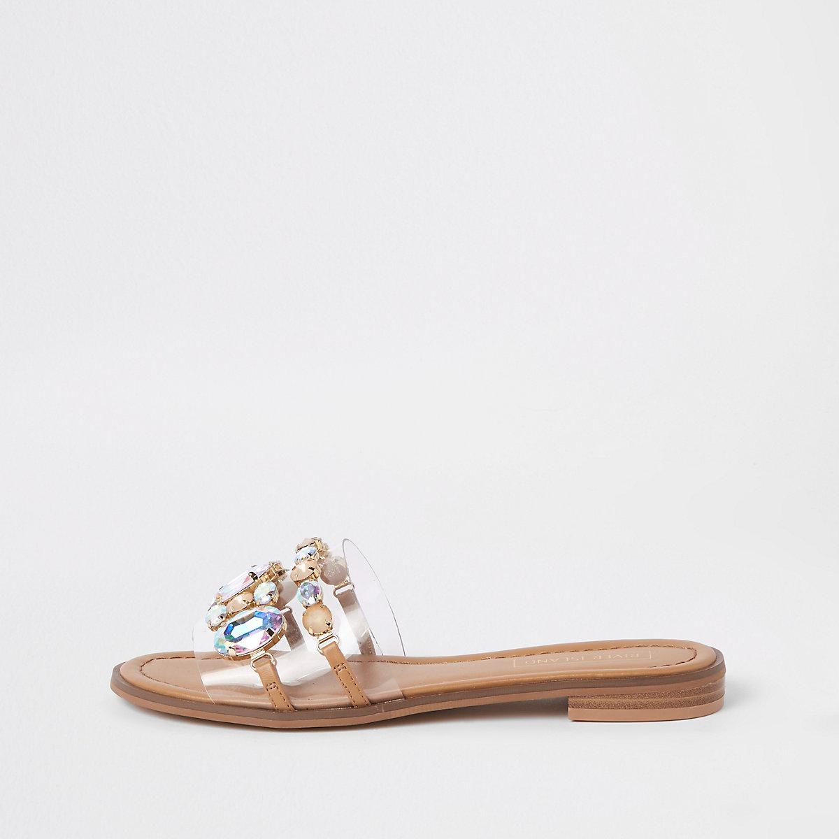Beige jewel embellished flat sandals