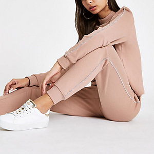 Light pink rhinestone trim joggers