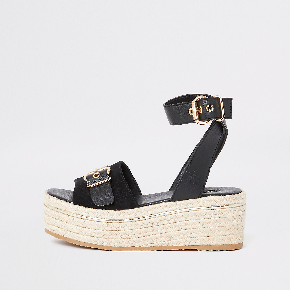 Black espadrille wide fit flatform sandals
