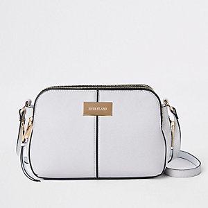 Light grey triple compartment cross body bag