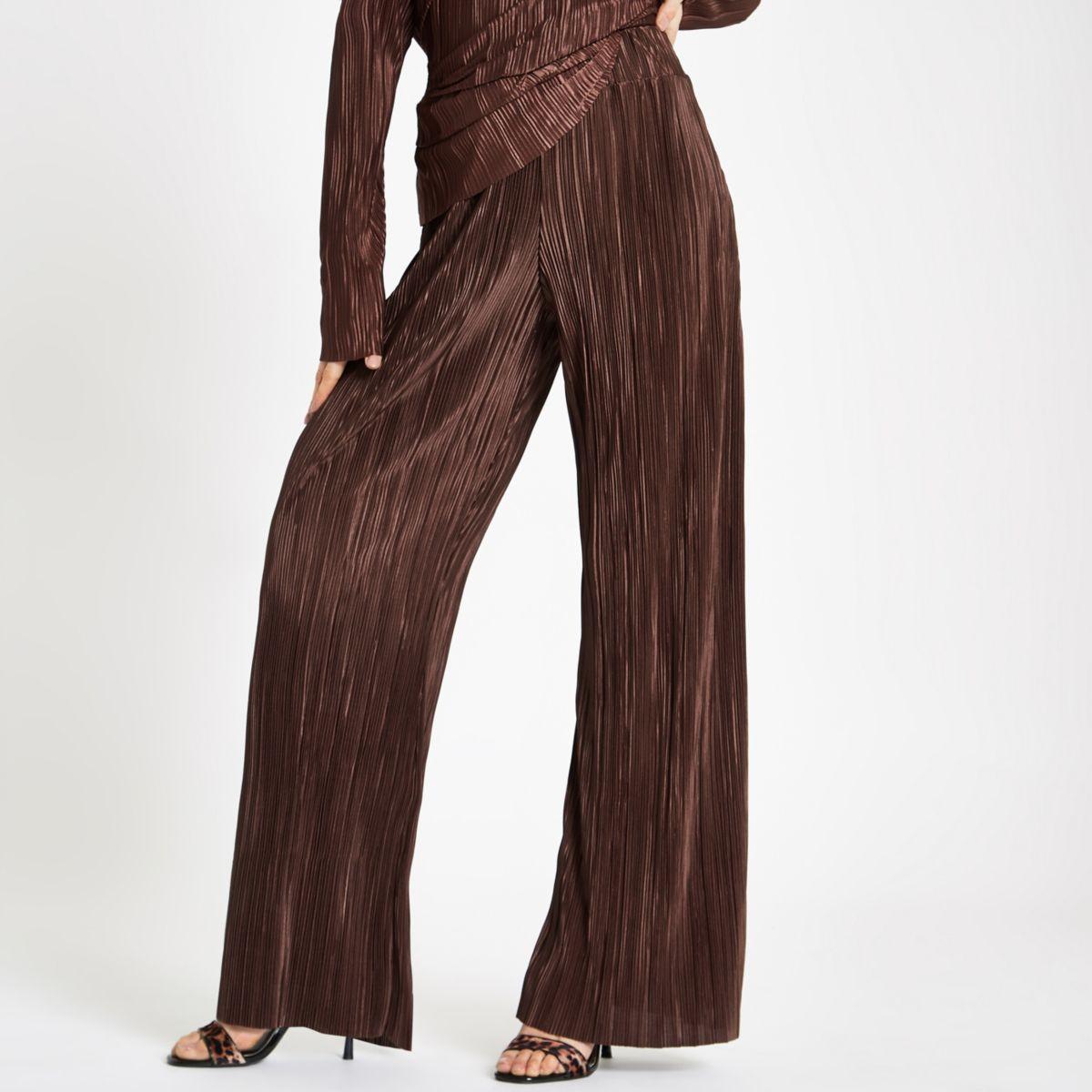 Brown plisse wide leg pants