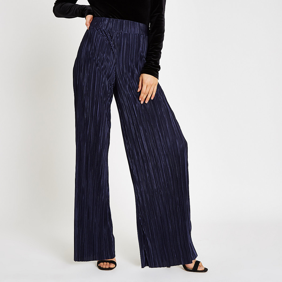 Navy plisse wide leg trousers