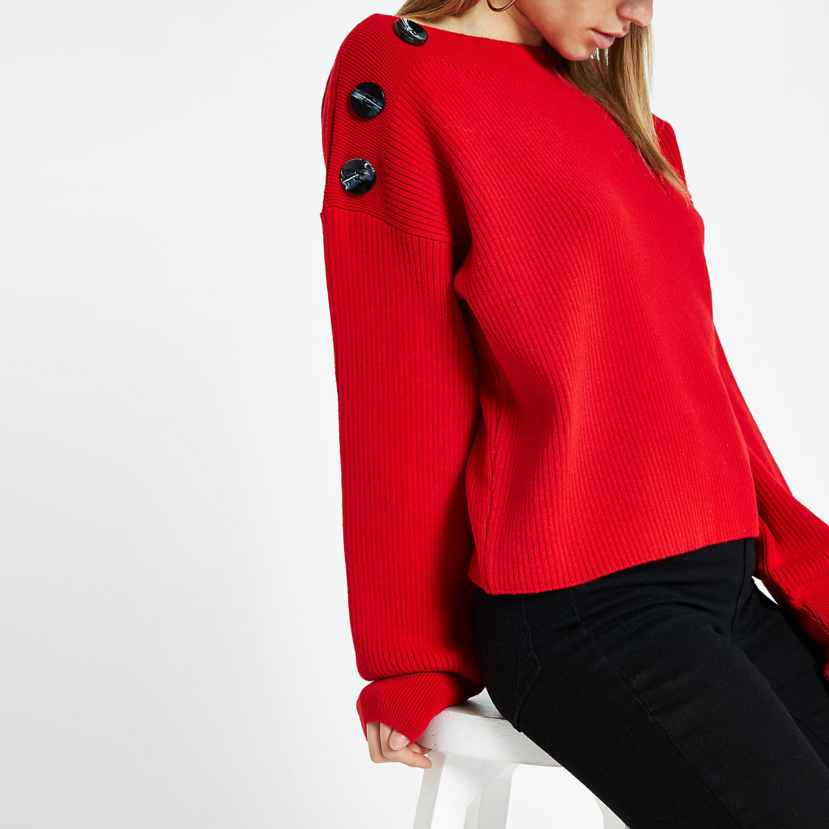 Red knit boat neck button jumper