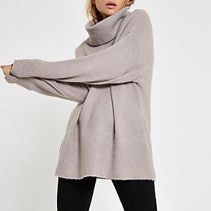 Grijze oversized pullover met col