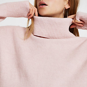 Pink oversized roll neck jumper