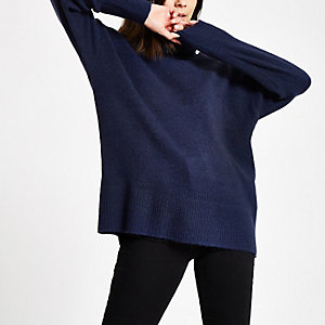 Navy oversized roll neck sweater