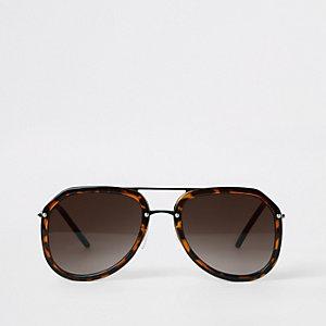 Braune Pilotensonnenbrille mit Schildpattmuster