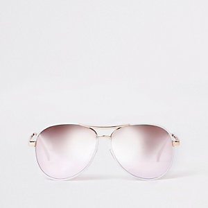 White silver lens aviator sunglasses