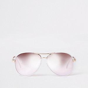 Lunettes de soleil aviateur blanches à verres argentés