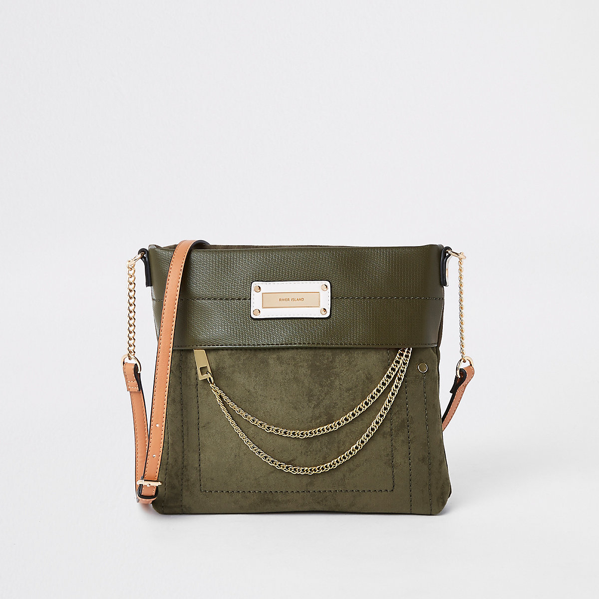 Khaki zip front chain cross body bag