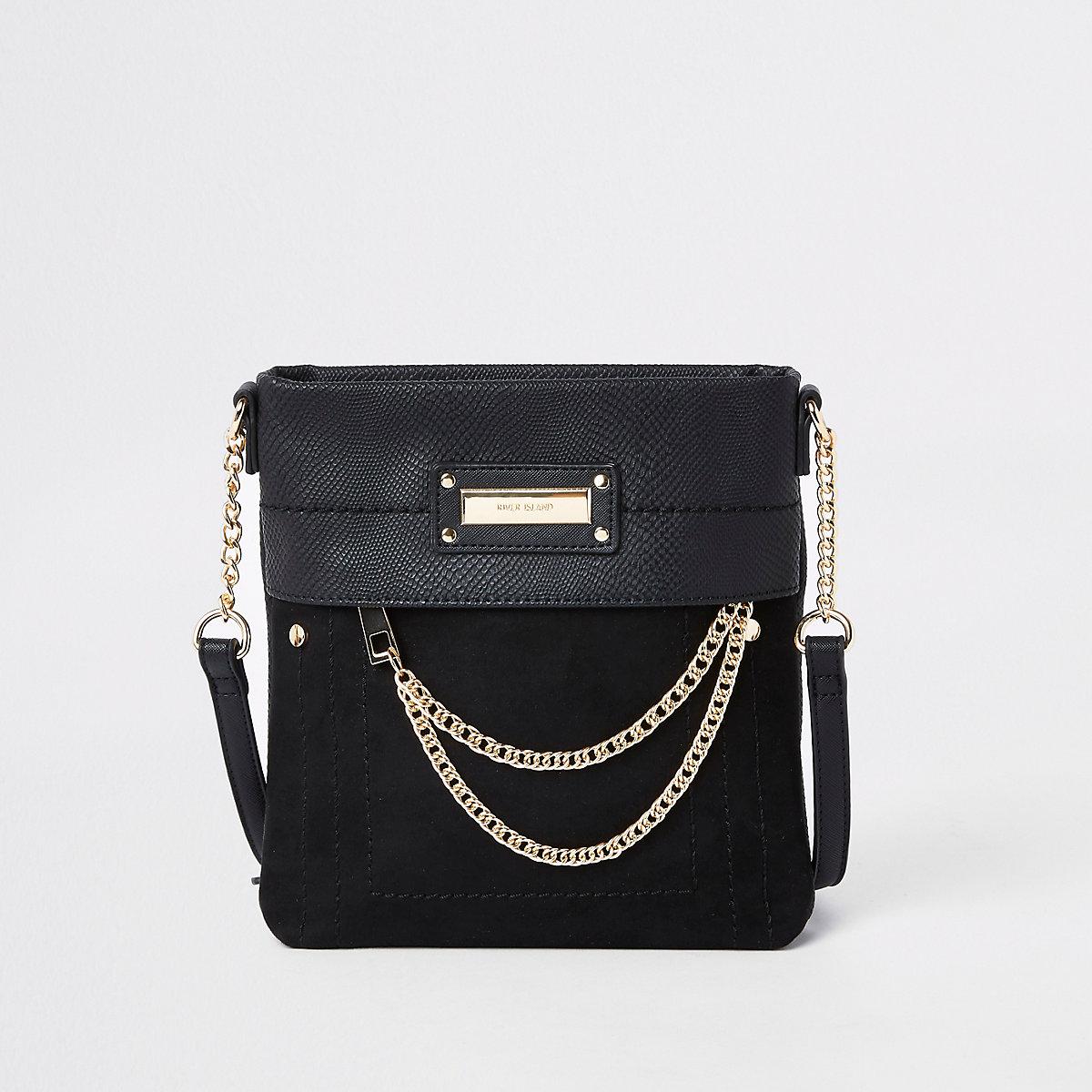 Black zip front chain cross body bag