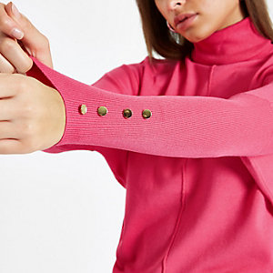 Pink batwing sleeve roll neck top