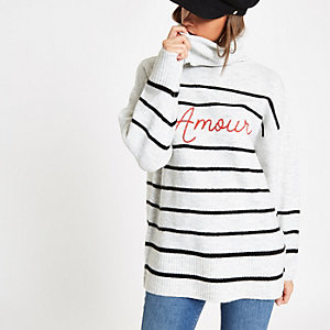 Cream stripe 'Amour' roll neck sweater