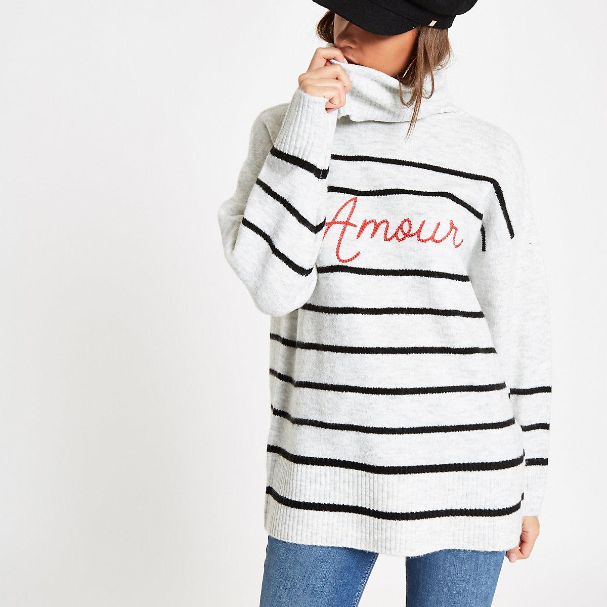 Cream stripe 'Amour' roll neck sweater